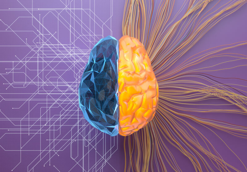 Heavily stylized illustration of human brain combines it with computer.