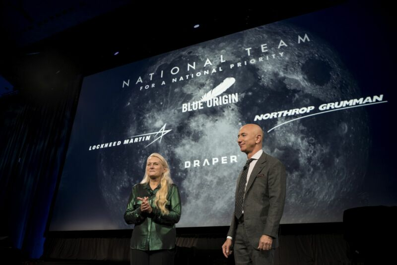 Blue Origin founder Jeff Bezos announces the company's partnership with Lockheed Martin, Northrop Grumman, and Draper to develop a Human Landing System in 2019.