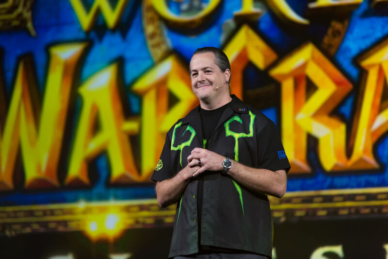 Brack promoting <em>World of Warcraft</em> onstage at Blizzcon 2017.
