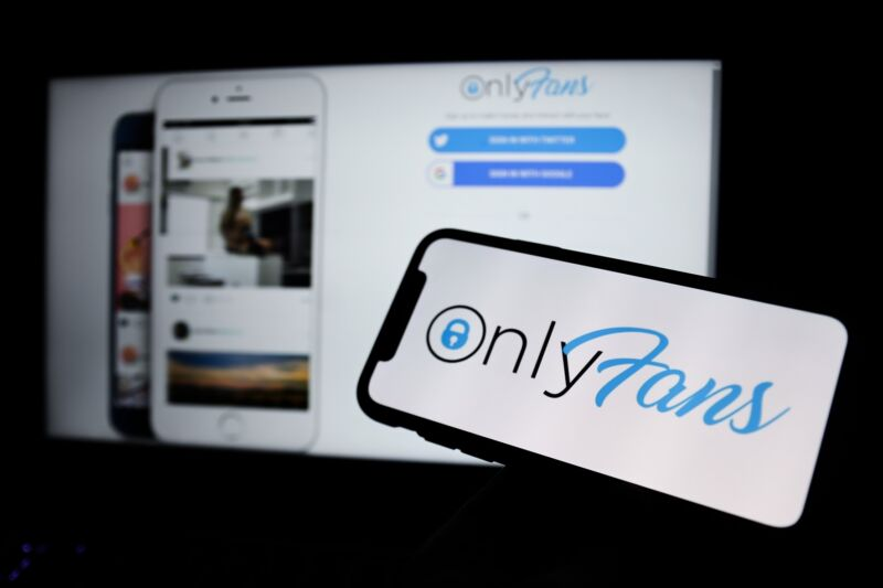 OnlyFans logo displayed on a phone screen and a laptop's web browser.