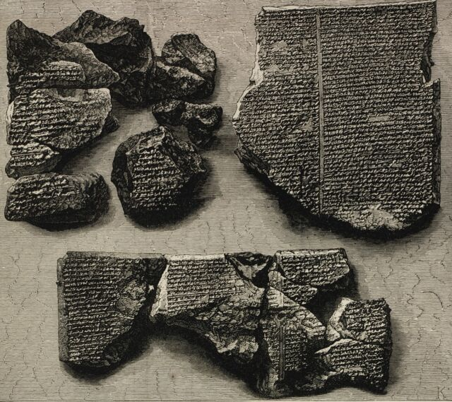 An 1873 illustration of tablet fragments giving an account of the Great Flood—part of the Epic of Gilgamesh.