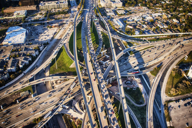 The intersection of Interstates 10 and 610 in Houston, Texas, during evening rush hour.
