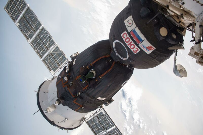 The Soyuz MS-09 spacecraft docked to the Rassvet module of the International Space Station's Russian segment.