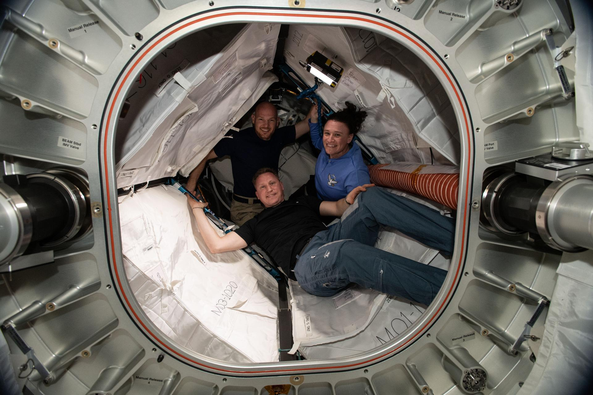 The crew of Soyuz MS-09 (Sergey Prokopyev, Alexander Gerst, and Serena Auñón-Chancellor) is seen aboard the International Space Station in 2018.