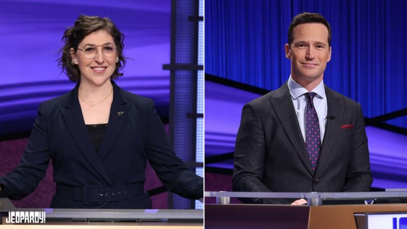 Mike Richards (right) will be the new regular host of <em>Jeopardy!</em> when it returns for its 38th season. <em>The Big Bang Theory</em> star Mayim Bialik will host