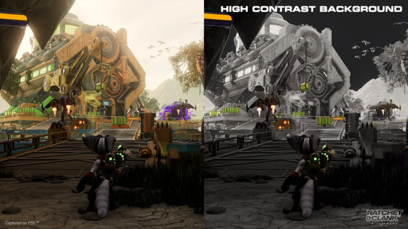 The high-contract backgrounds in <em>Ratchet & Clank: Rift Apart</em> are just one of the more prominent examples of game designs tuned for the visually impaired.