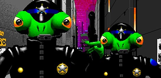 Screenshot from 1990s video game shows anthropomorphic frog police.