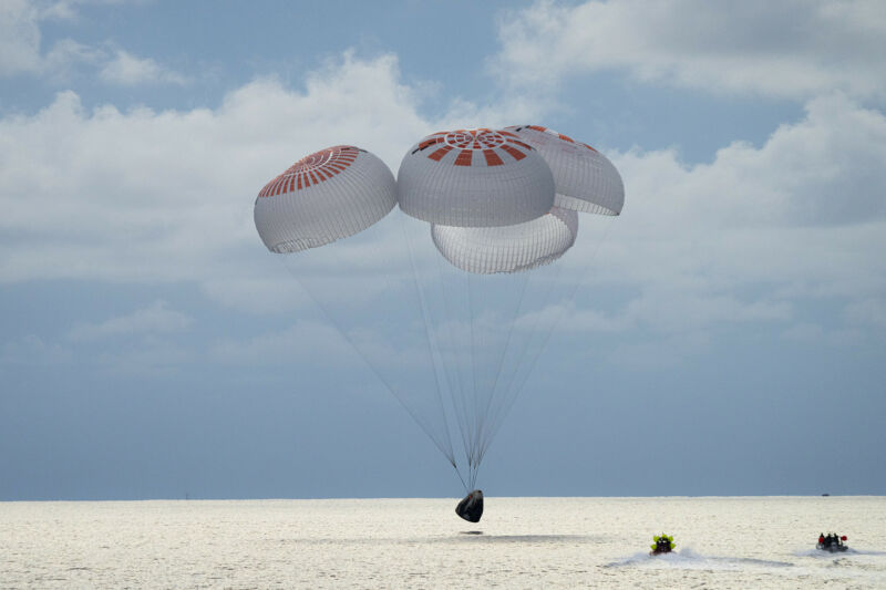 The Inspiration4 mission, inside a Crew Dragon, splashes down on Saturday in the Atlantic Ocean. Interest in such tourist missions is soaring.