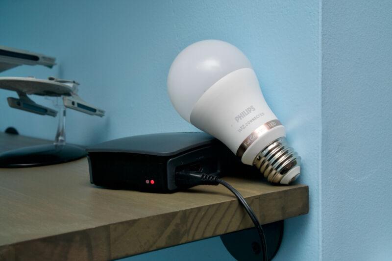 A Philips Wiz bulb and a Raspberry Pi running Homebridge.