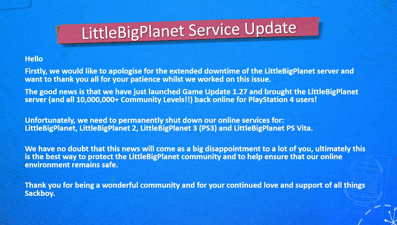 The official statement from the <em>LittleBigPlanet</em> Twitter account regarding the shutdown of its legacy platform servers.