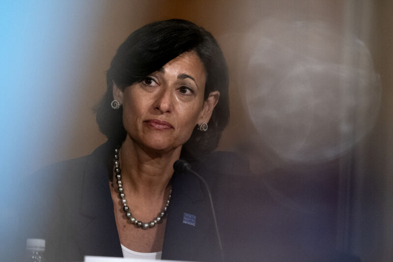 CDC Director Rochelle Walensky testifies during a Senate committee hearing in July 2021.