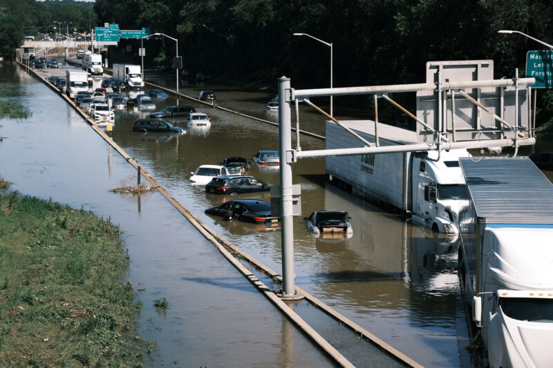 Cars sit abandoned on the flooded Major Deegan Expressway in the Bronx following a night of heavy wind and rain from the remnants of Hurricane Ida  on September 02, 2021, in New York City.