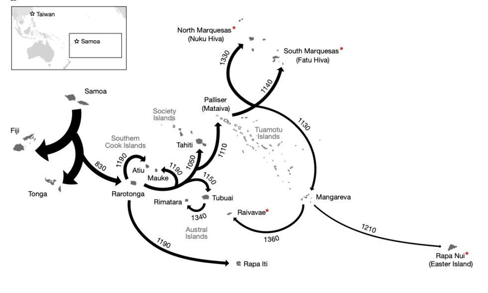 La mappa di dispersione polinesiana proposta in questa ricerca.