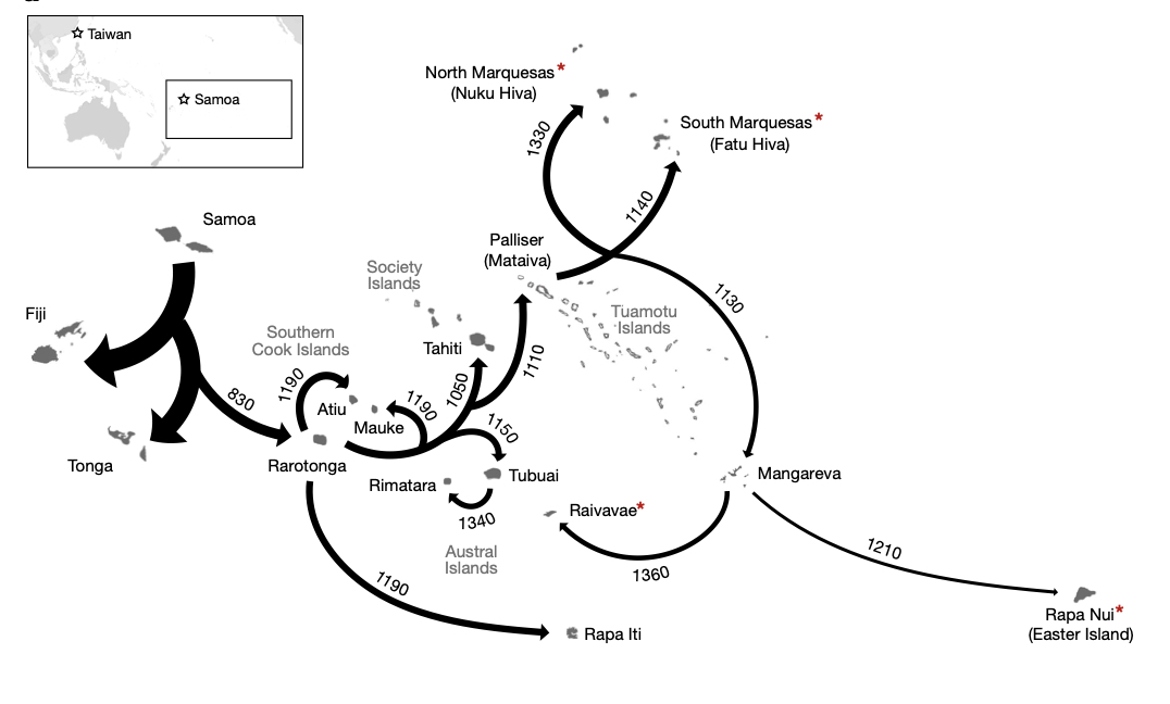 The map of the spread of Polynesians proposed in this research.