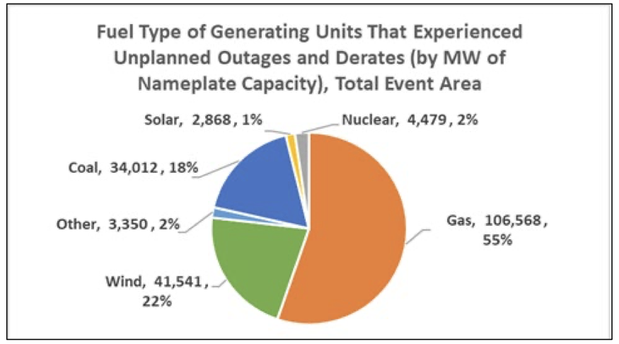 When everything's to blame. Graph shows that every source of generating capacity experienced outages.