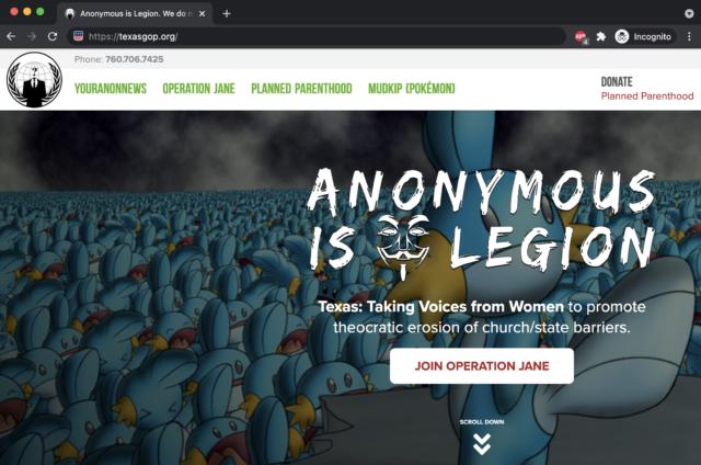 Le site Web du Texas Republican Party a été défiguré par Anonymous ce mois-ci.