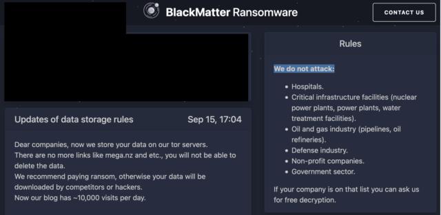 BlackMatter afirma que no ataca la infraestructura crítica.
