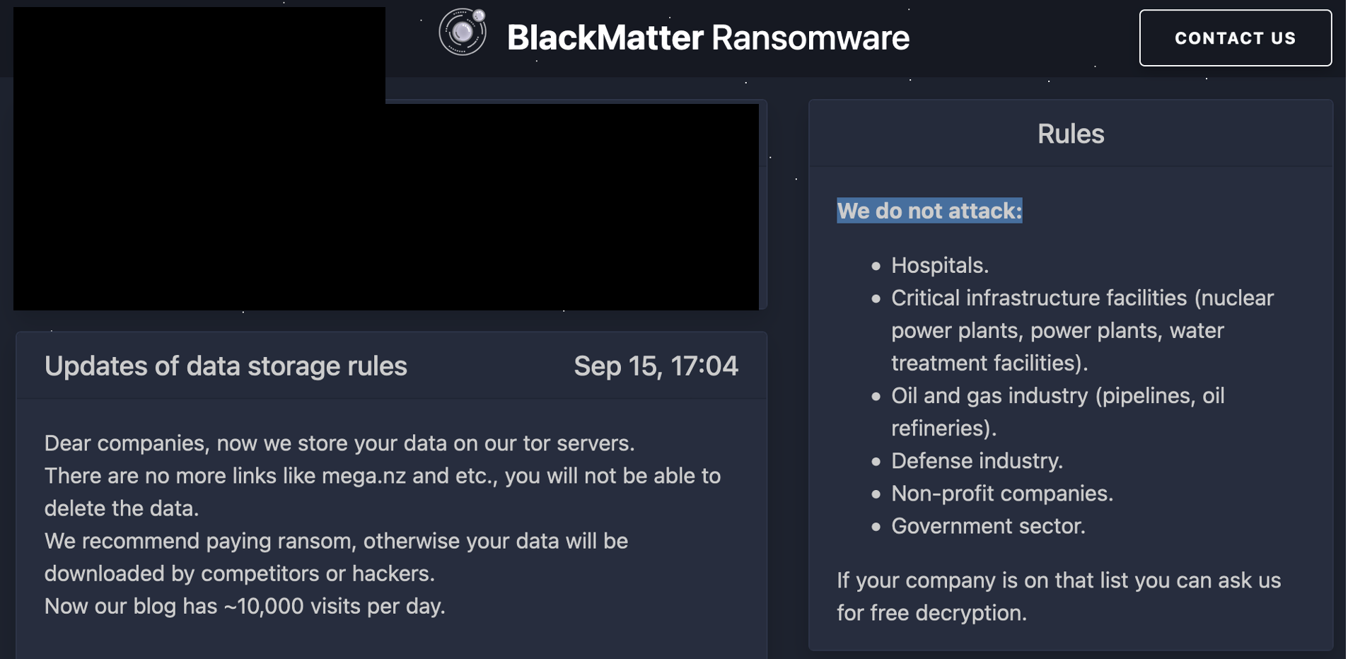 BlackMatter claims it doesn't attack critical infrastructure.