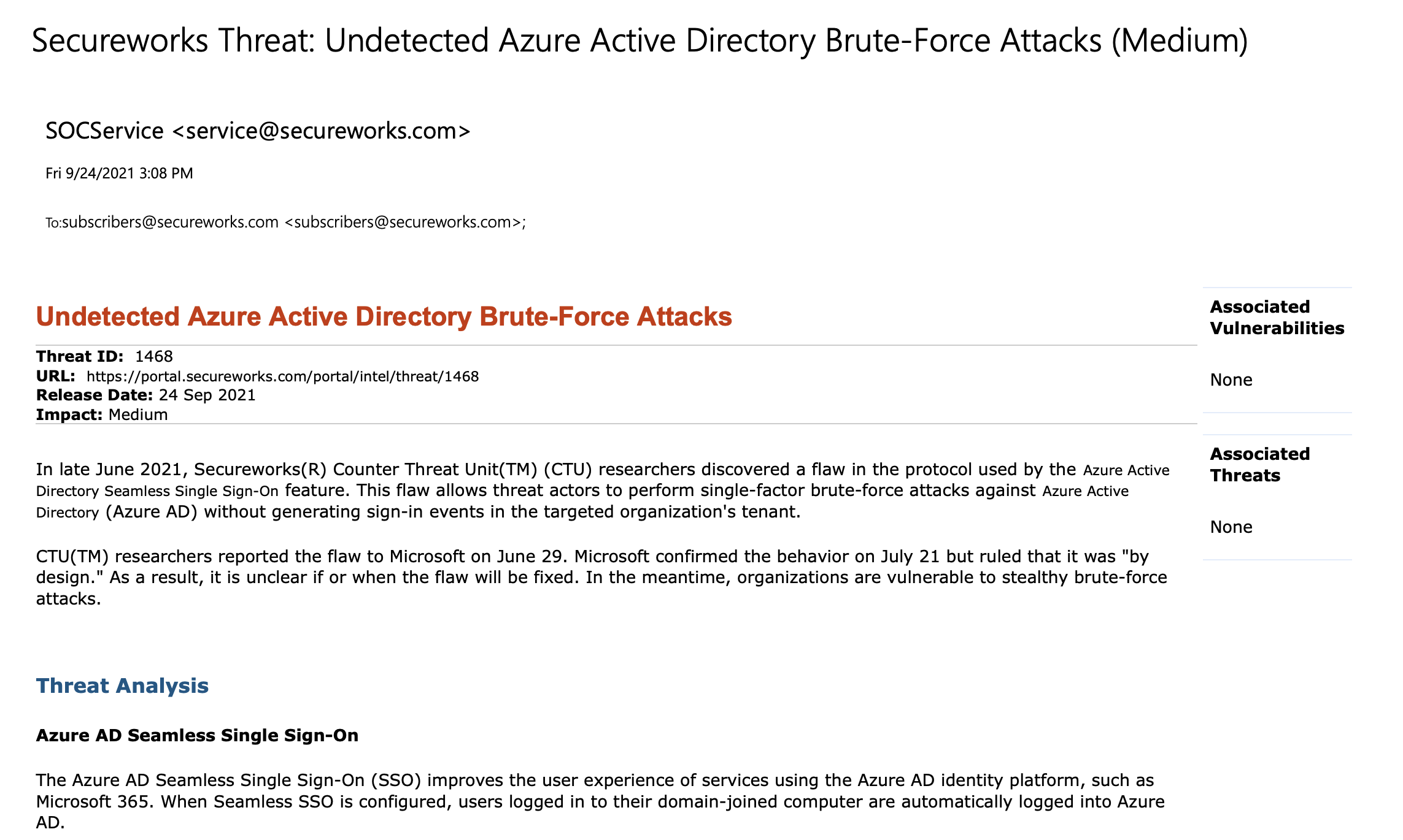 Secureworks emails its customers regarding Azure's Active Directory flaw.