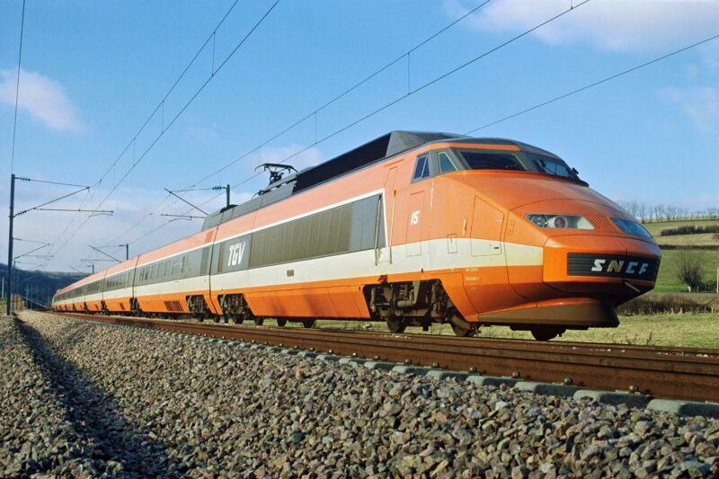 Image of an orange train.