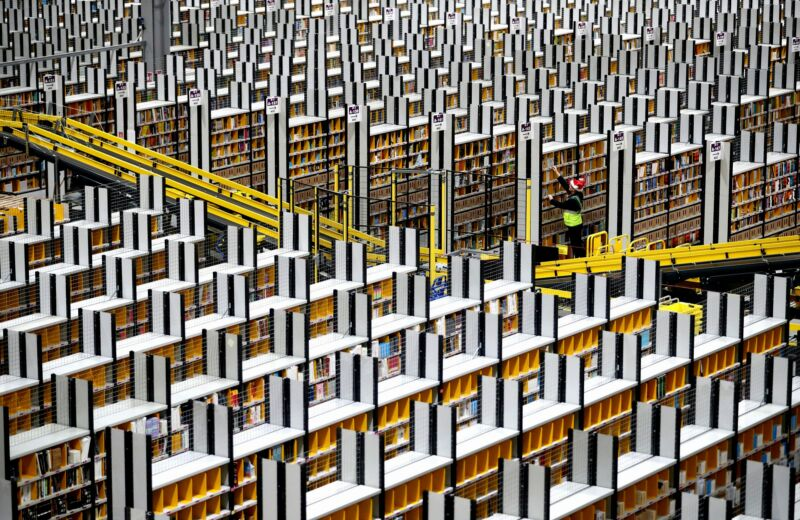 """Modern warehouse work sometimes unfolds within million-square-foot buildings, which some labor organizers say can make bathroom breaks """"logistically impossible."""""""