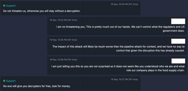 Charla de negociación entre la operación de ransomware NEW Cooperative y BlackMatter.