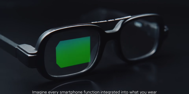 photo of Xiaomi shows off smart glasses with an all-green, microLED, waveguide display image