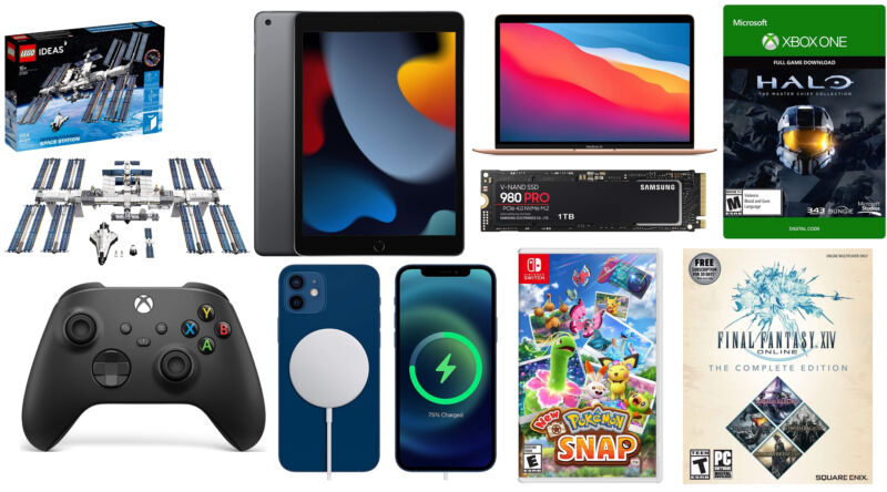 Collage of electronic consumer goods against a white background.