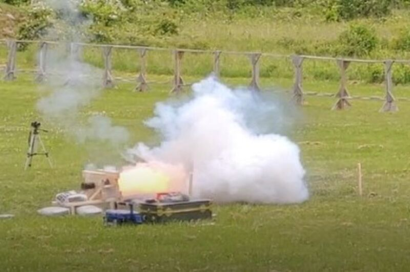 Researchers tested medieval gunpowder recipes in this replica of an early 15th-century stone-throwing cannon.