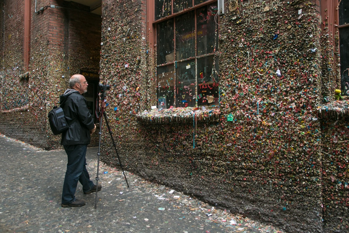 """Seattle's famous """"gum wall""""—located in an alley behind Pike Place Market—accumulated 20 years' worth of used gum before it was finally steam cleaned in 2015."""