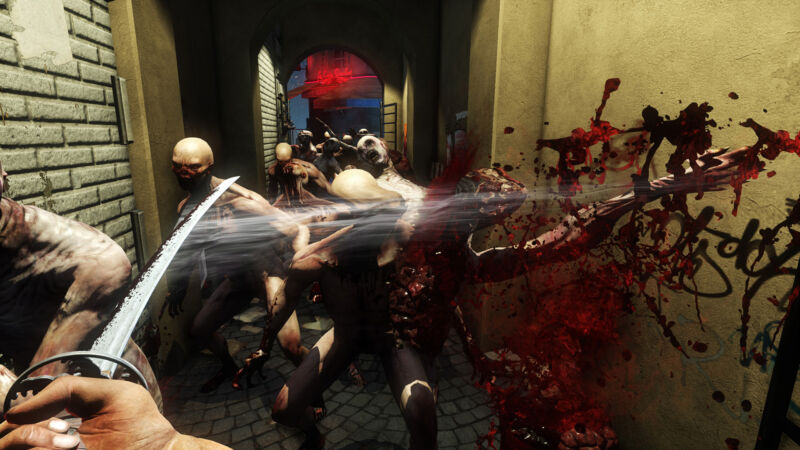 Screenshot from a violent, bloody video game.