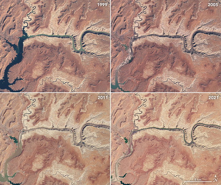Natural color images from March 1999, April 2005, May 2011, and April 2021 by Landsat satellites chronicle the shrinking Lake Powell reservoir and Lower Colorado River.