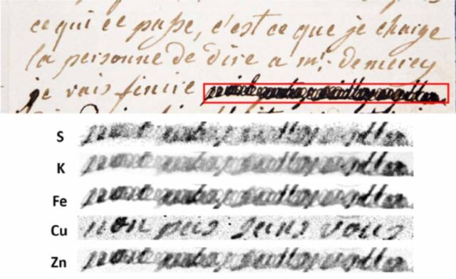 """(top) First page of a letter between Marie Antoinette and Axel von Fersen. (bottom) Elemental map of the inks used. Un-redacted text: """"non pas sans vous."""""""