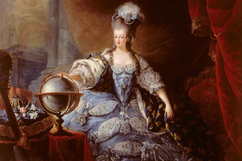 1775 portrait of Marie Antoinette, Queen of France, by Jean-Baptiste-André Gautier-Dagoty. X-ray analysis of letters between the queen and a Swedish count revealed words that had been blacked out, rendering them illegible—until now.