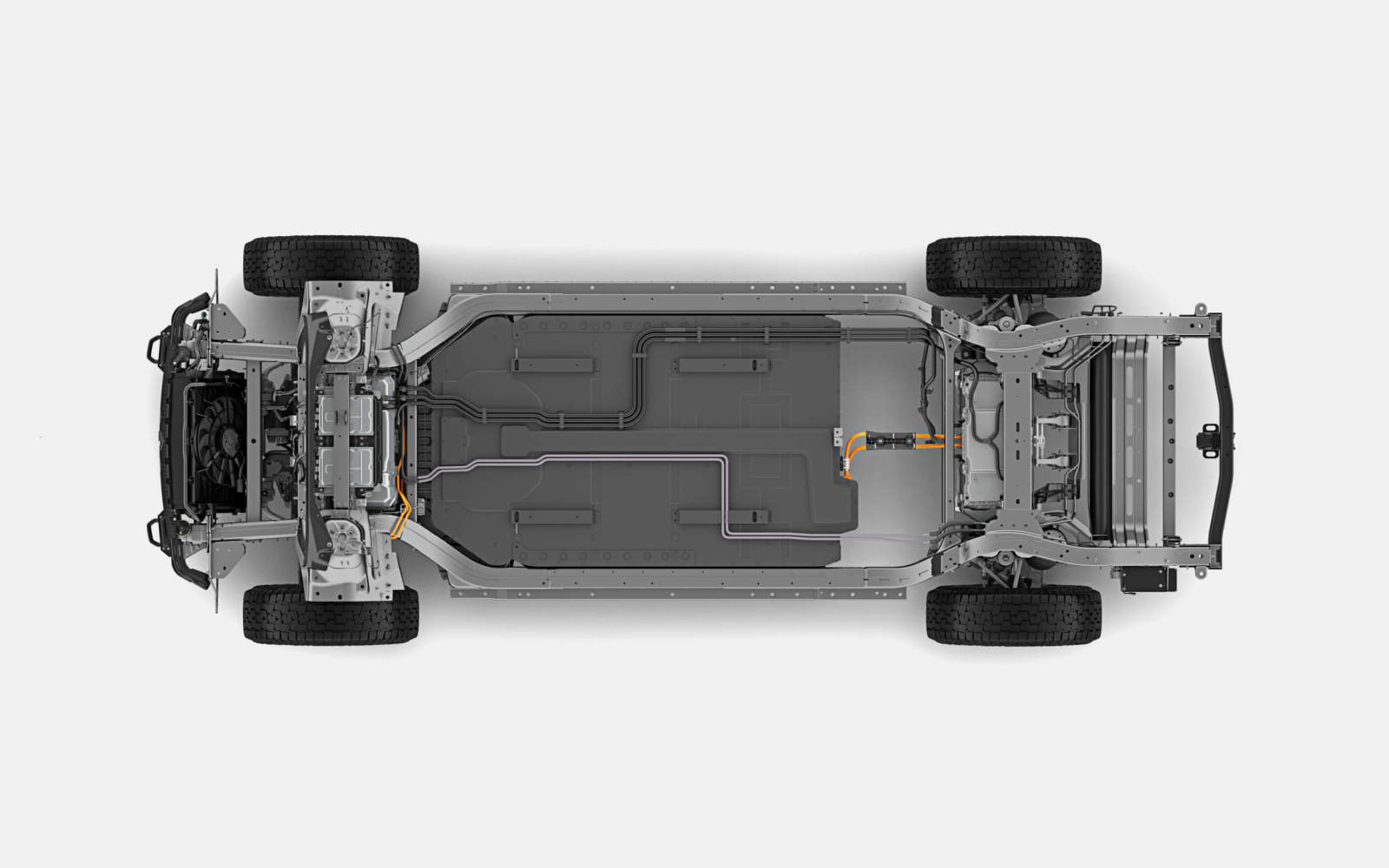 The R1T chassis and battery, as seen from above.