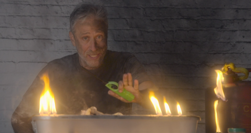 Jon Stewart is back to TV to set some things on fire.