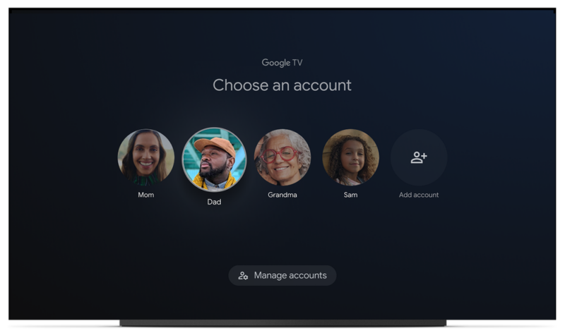 Multiple-profile support on Google TV.