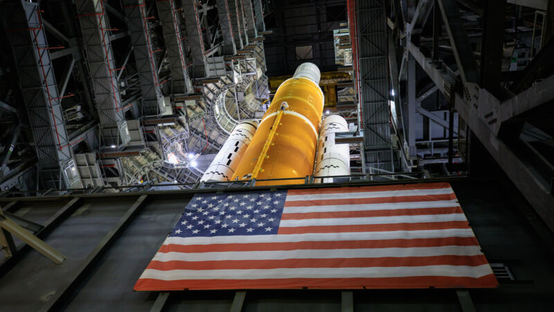 A view of NASA's SLS rocket, nearly fully assembled, in September 2021.