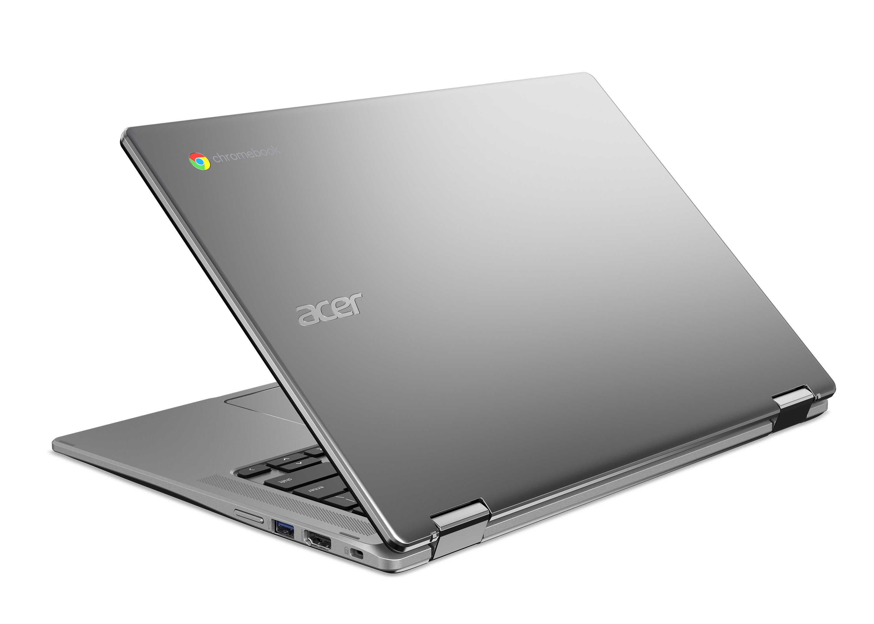 The cheaper Chromebook Spin 314 appears to have a colored Chromebook logo, unlike the Spin 514.