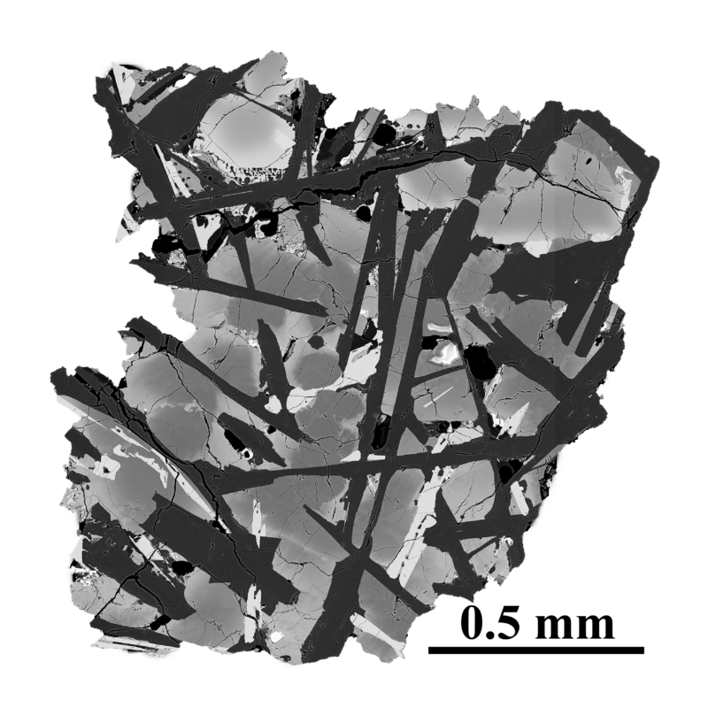 Greyscale image showing a slice through a rock with a complex structure.