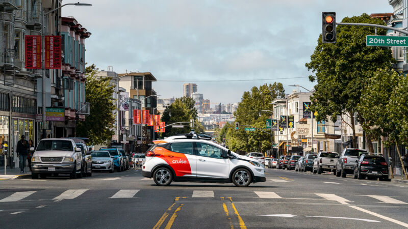 A Cruise robotaxi test vehicle in San Francisco.