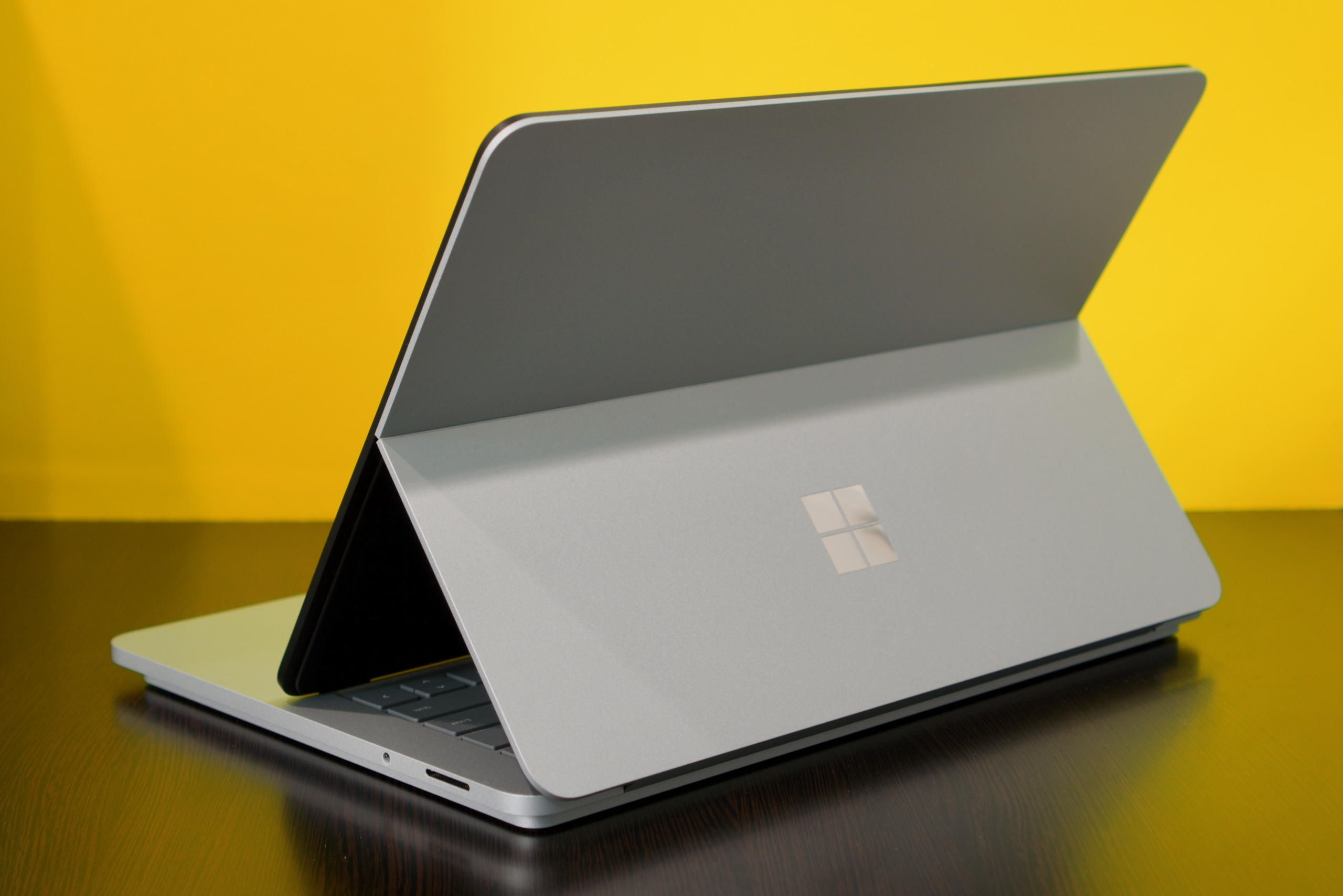 The Surface Laptop Studio looks like a Surface Pro when its screen is popped out.
