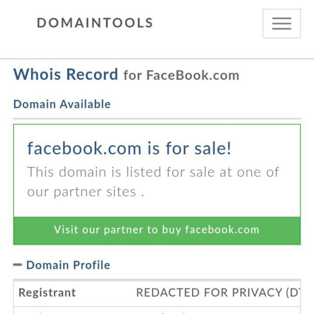 Facebook.com is not for sale—it's merely offline. Some poorly coded tools simply don't know how to handle the entire registrar for a domain being unavailable.