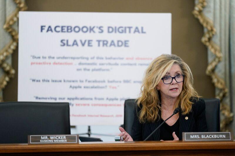 Sen. Marsha Blackburn (R-Tenn.) speaks as Facebook head of global safety, Antigone Davis, testifies before a hearing of the Senate Subcommittee on Consumer Protection focusing on Facebook, Instagram, and mental health harms on September 30, 2021.