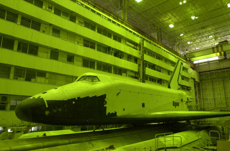 The original Buran shuttle, which flew one time, is photographed in the year 2000 two years before its destruction.