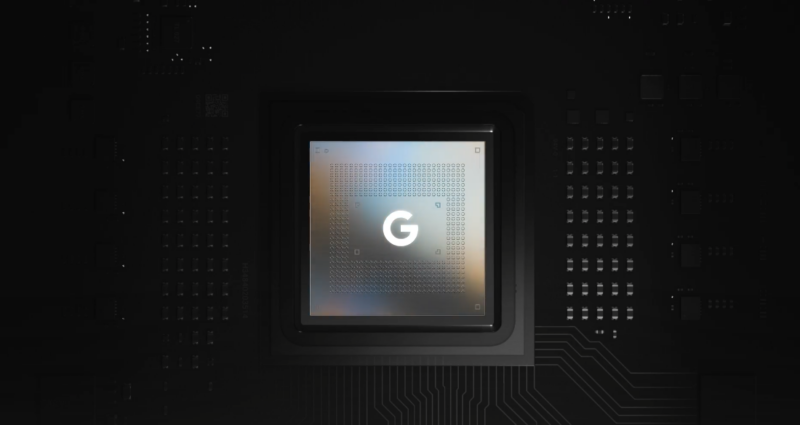 A promo image for the Google Tensor SoC.