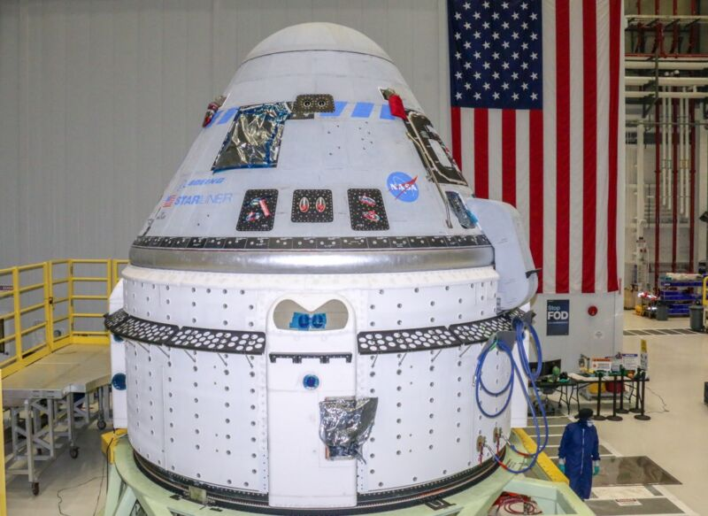 The Boeing Starliner spacecraft to be flown on Orbital Flight Test-2 is seen at NASA's Kennedy Space Center in Florida on June 2, 2021.