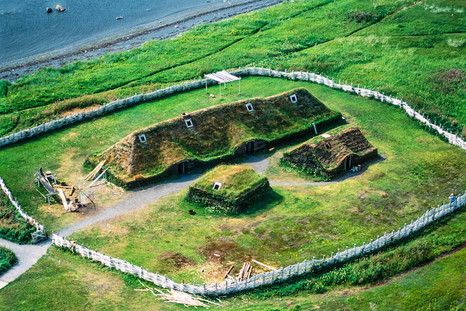 Painting of Viking settlement from above