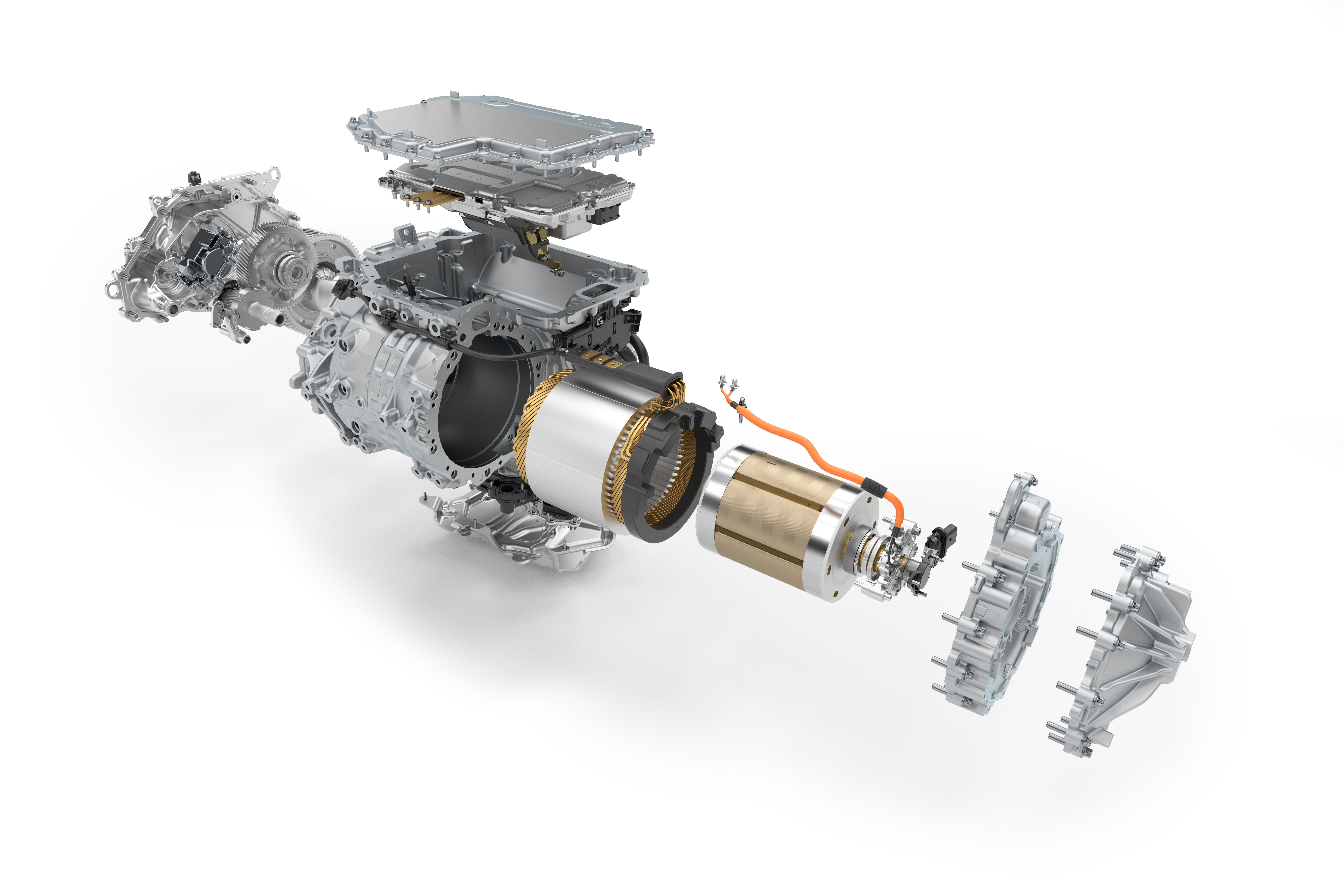 An exploded view of a BMW i4 drive unit. BMW is proud of being a motor manufacturer and designs and builds its electric motors in-house.