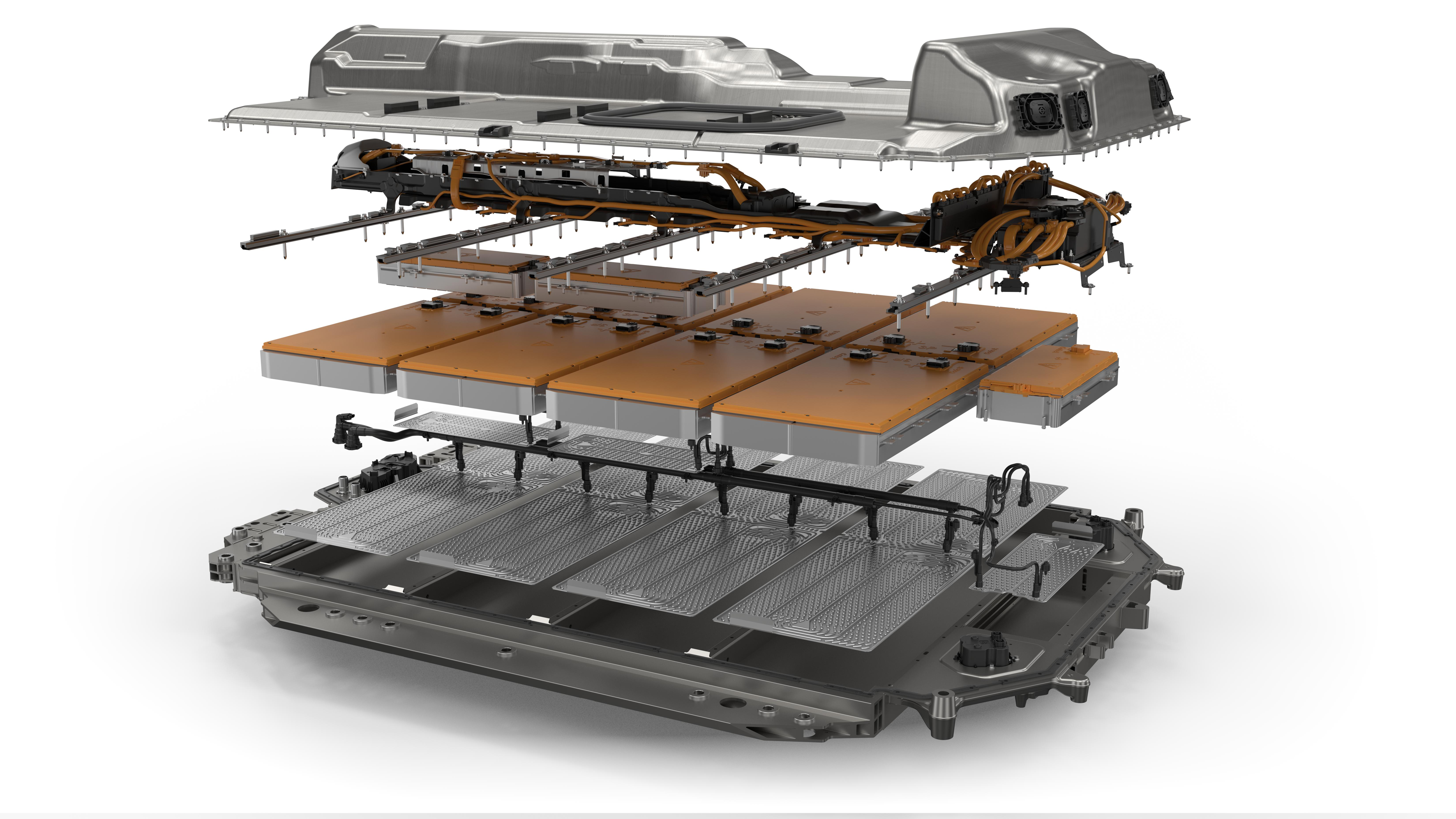 An exploded view of the BMW i4's battery pack